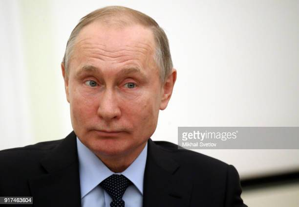 Russian President Vladimir Putin attends his meeting with Palestinan President Mahmoud Abbas at the Kremlin on February 12 2018 in Moscow Russia