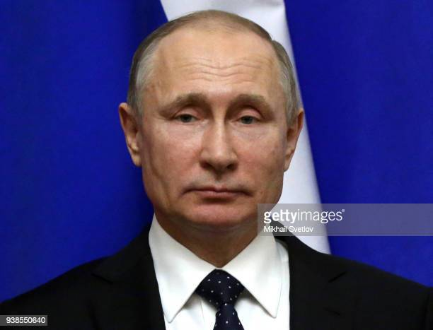 Russian President Vladimir Putin attends RussianQatari talks on March 26 2018 at the Kremlin in Moscow Russia Emir of Qatar is having his work visit...