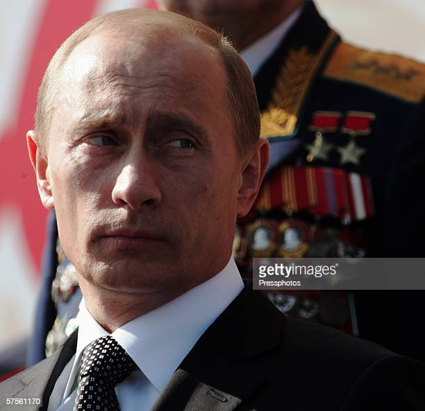 Russian President Vladimir Putin attends the annual military parade at Red Square May 9 2006 in Moscow Russia Russians are celebrating the 61st...