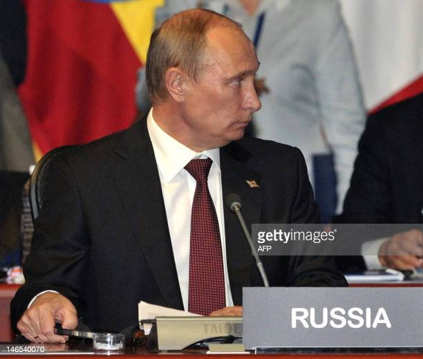 Russian President Vladimir Putin attends the G20 leaders Summit in Los Cabos Mexico on June 19 2012 AFP PHOTO/ RIANOVOSTI POOL / ALEXEI NIKOLSKY