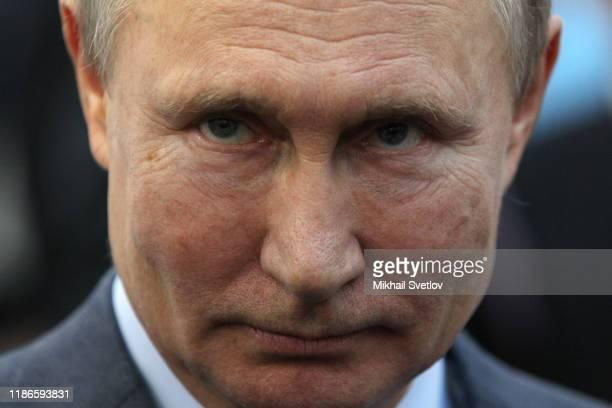 Russian President Vladimir Putin attends the International Volunteer Forum on December 5, 2019 in Sochi, Russia. Russian President Putin is holding a...