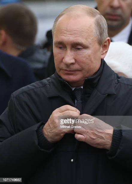 Russian President Vladimir Putin attends the opening ceremony of the new monument of Soviet dissident and writer Alexander Solzhenitsyn in Moscow...
