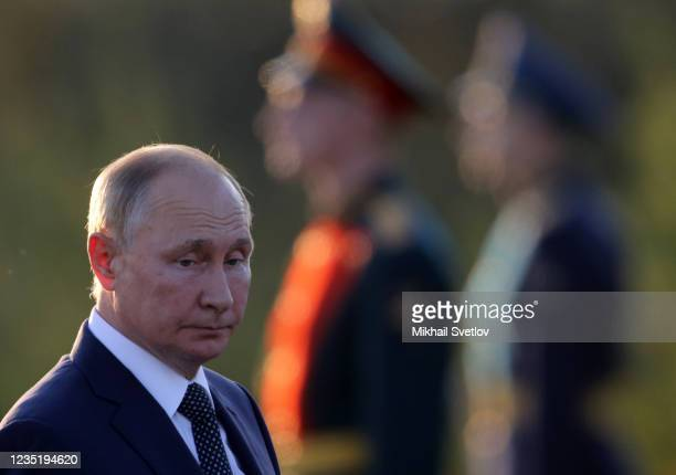 Russian President Vladimir Putin attends the opening ceremony of the monument to Prince Alexander Nevsky and His Guard at the supposed location of...