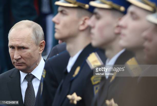 Russian President Vladimir Putin attends the Red Square Victory Day Parade on May 9 2019 in Moscow Russia Putin sent his greeting to people of...