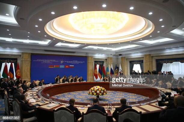 Russian President Vladimir Putin attends the Supreme Eurasian Economic Council of the Eurasian Economic Union meeting a AlaArcha State residence on...