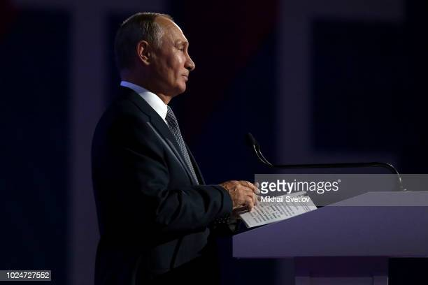 Russian President Vladimir Putin attends the Technoprom Forum and Exhibition August 28 2018 in Novosibirsk Russia Putin is having a twoday trip to...
