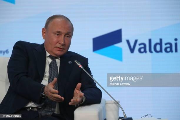 Russian President Vladimir Putin attends the Valdai Discussion Club's plenary meeting, on October 21 in Sochi, Russia. Vladimir Putin took part in...