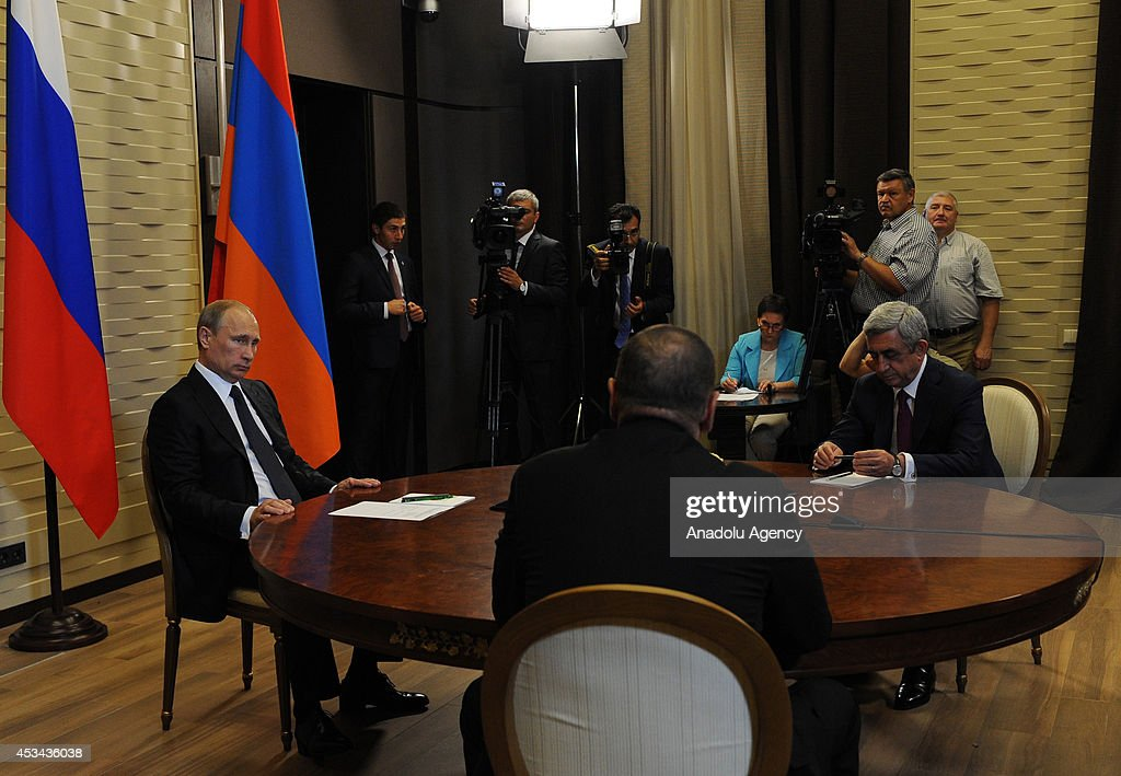 Putin, Aliyev and Sargsyan in Nagorno-Karabakh meeting : News Photo
