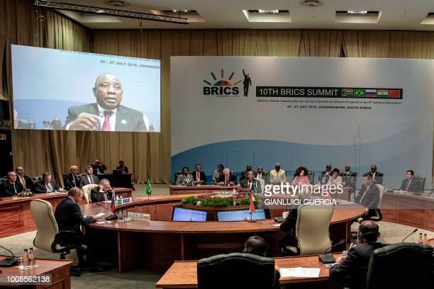 Russian President Vladimir Putin Brazilian President Michel Temer South African President Cyril Ramaphosa Indian Prime Minister Narendra Modi and...