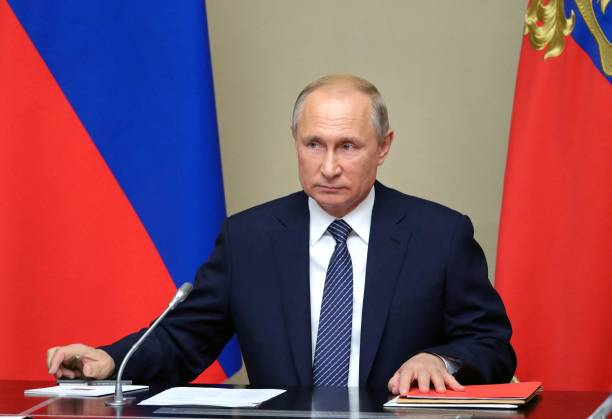 Russian President Vladimir Putin chairs a Security Council meeting at the NovoOgaryovo residence outside Moscow on August 5 2019 President Vladimir...