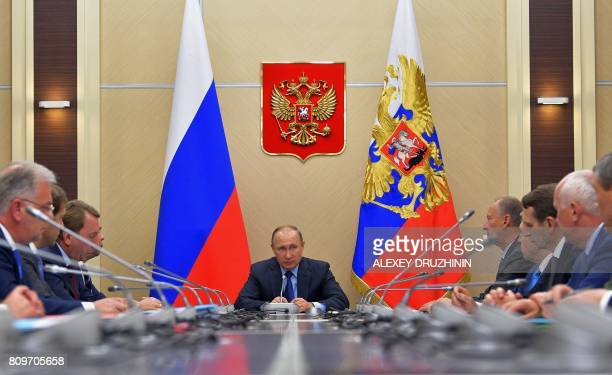 Russian President Vladimir Putin chairs the Commission on militarytechnical cooperation with foreign states in his residence in NovoOgaryovo outside...