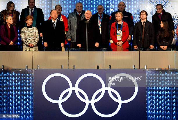 Russian President Vladimir Putin declares the games open during the opening ceremony of the Sochi 2014 Winter Olympics at the Fisht Olympic Stadium...