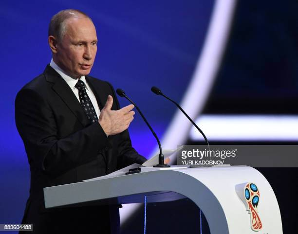 Russian President Vladimir Putin delivers a speech ahead of the 2018 FIFA World Cup football tournament final draw at the State Kremlin Palace in...