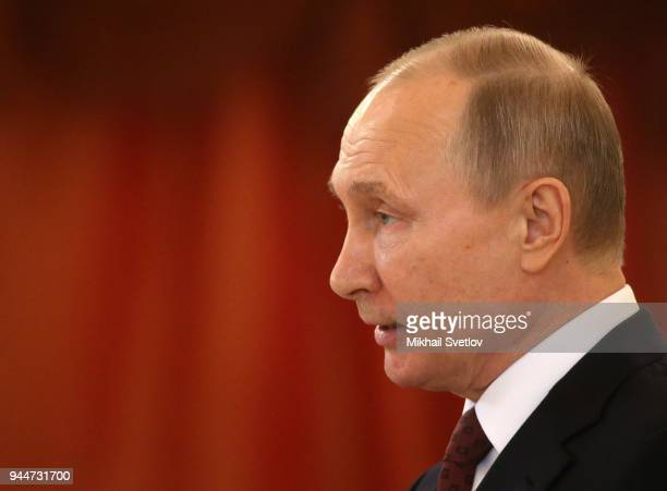 Russian President Vladimir Putin delivers a speech during a reception for new foreign ambassadors at the Grand Kremlin Palace in Moscow Russia April...