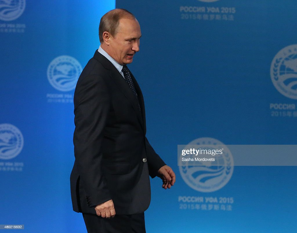 Russian President Vladimir Putin delivers a speech during his press conference during the Shanghai Cooperation Organisation (SCO) Summit on July 10, 2015 in Ufa, Russia. Russia hosts the SCO and BRICS 2015 Summits in Ufa this week.
