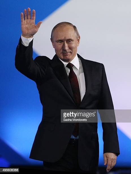 Russian President Vladimir Putin delivers a speech during the Community Forum of Active Citizens on November 4 2015 in Moscow Russia The Russian...