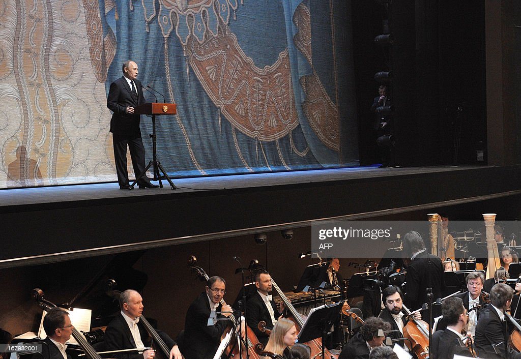 Russian President Vladimir Putin delivers a speech during the Grand gala dedicated to the opening of the new stage Mariinsky II theatre in St. Petersburg on May 2, 2013. Russia's famous Mariinsky theatre in Saint Petersburg was to inaugurate a new ballet and opera house on May 2 in an event coinciding with the 60th birthday of its hugely ambitious and well-connected director Valery Gergiev.