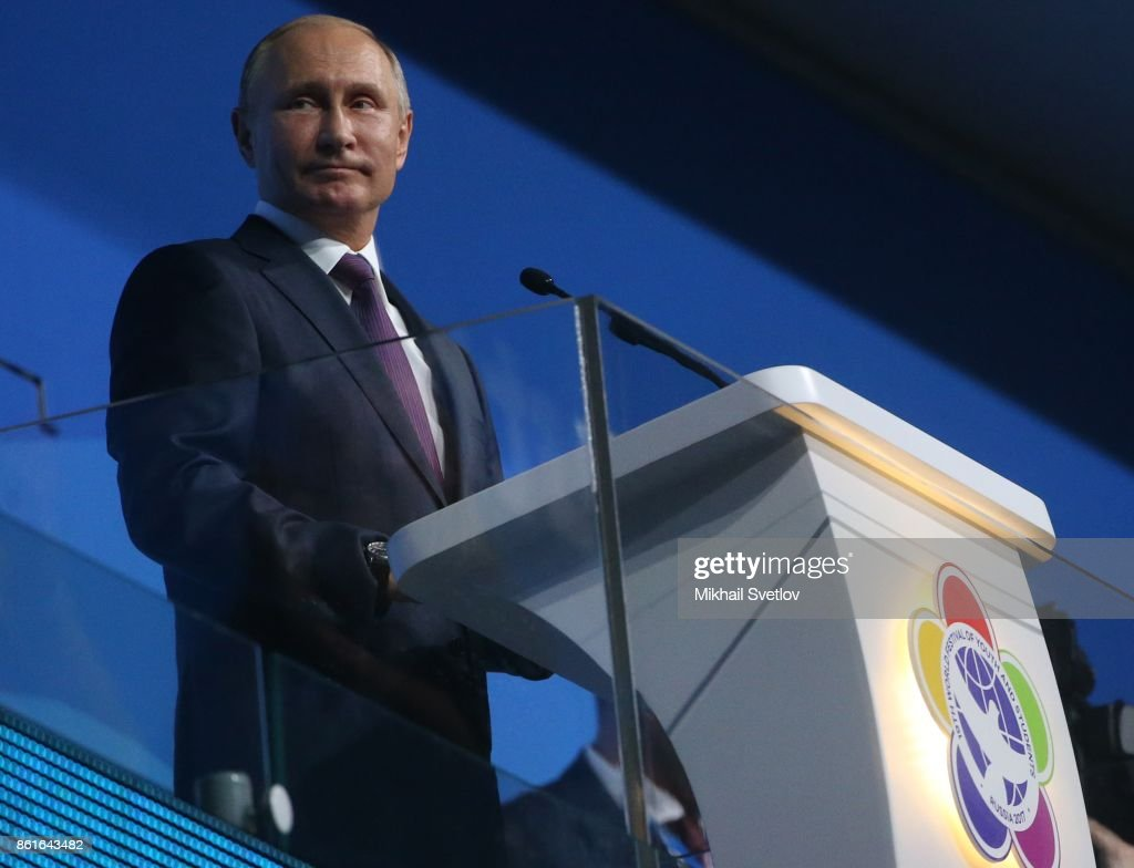Russian President Vladimir Putin opens the World Youth Festival in Sochi : News Photo