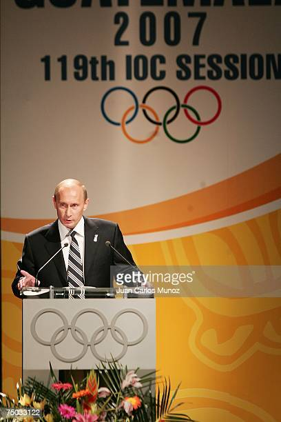 Russian President Vladimir Putin delivers a speech during the presentation that selected the Russian city of Sochi as the site of the 2014 Winter...