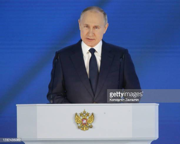 Russian President Vladimir Putin delivers his annual address to the Federal Assembly on April 21, 2021 in Moscow, Russia. President Vladimir Putin...
