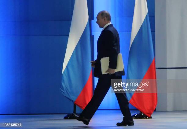 Russian President Vladimir Putin delivers his annual address to the Federal Assembly, on April 21, 2021 in Moscow, Russia. President Vladimir Putin...