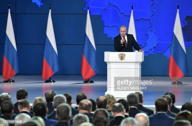 Russian President Vladimir Putin delivers his annual state of the nation address in Moscow on February 20 2019
