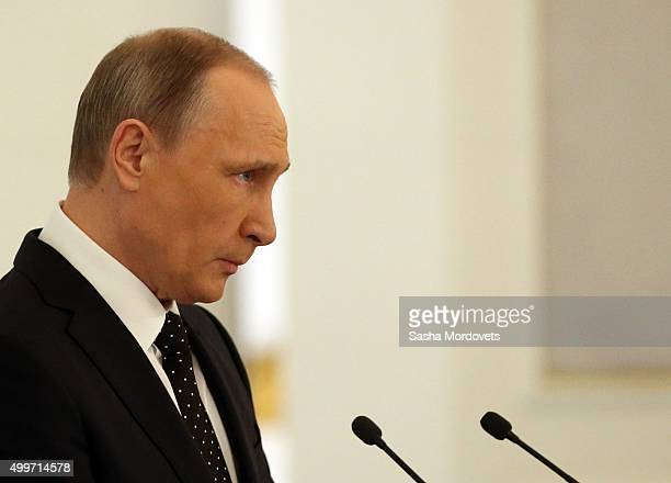 Russian President Vladimir Putin delivers the Federal Assembly annual speech in Grand Kremlin Palace on December 3 2015 in Moscow Russia