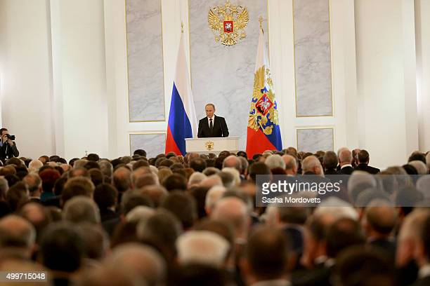 Russian President Vladimir Putin delivers the Federal Assembly annual speech in Grand Kremlin Palace on December 3, 2015 in Moscow, Russia.
