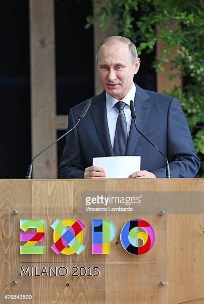 Russian President Vladimir Putin during a press conference at the Expo 2015 on June 10 2015 in Milan Italy
