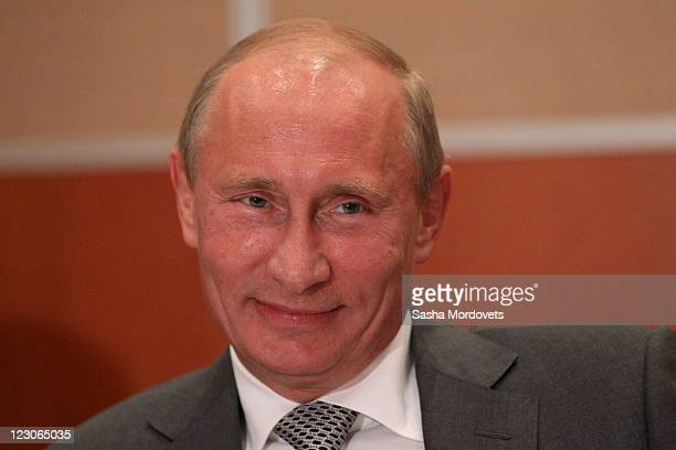 Russian President Vladimir Putin during a signing ceremony for an arctic oil exploration deal between Exxon Mobil and Rosneft on August 2011 in Sochi...
