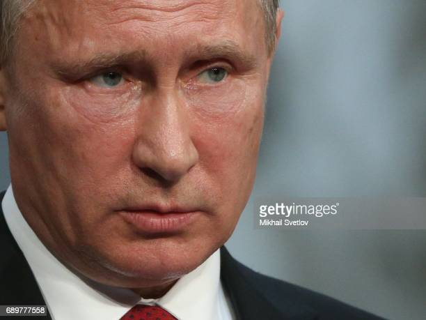 Russian President Vladimir Putin during his joint press conference with French President Emmanuel Macron on May 2017 in Versailles France Putin is...