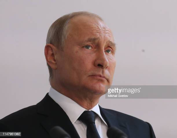 Russian President Vladimir Putin during the unveiling ceremony of the Monument to the Heroes of Resistance at Nazi concentration camps and Jewish...