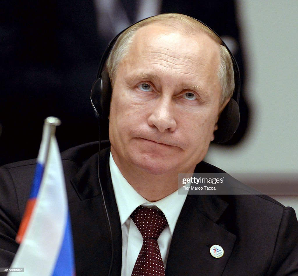 Russian President Vladimir Putin during the10 ASEM Summit with 50 Heads Of State From Europe And Asia on October 17, 2014 in Milan, Italy.The Asia-Europe Meeting (ASEM) was initiated in 1996 when the ASEM leaders met in Bangkok, Thailand. ASEM is an informal trans-regional platform for dialogue and cooperation between Asia and Europe