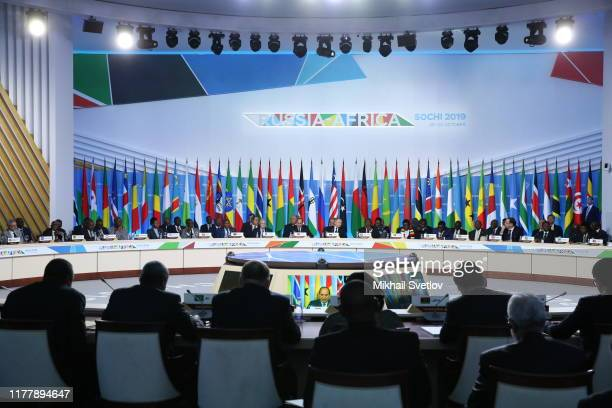 Russian President Vladimir Putin Egyptian President Abdel Fattal elSisi and South African President Cyril Ramaphosa seen during the plenary at the...