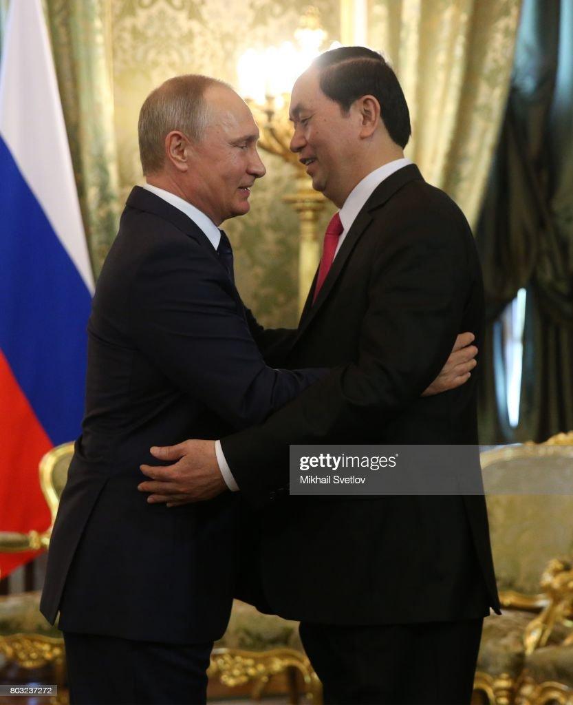 Putin receives vietnamese president at the kremlin pictures getty russian president vladimir putin l embrasses vietnamese president tran dai quang r m4hsunfo Choice Image