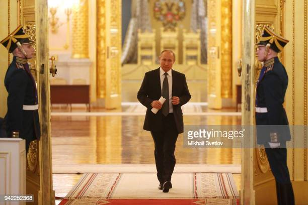 Russian President Vladimir Putin enters the hall during the meeting of State Council at the Grand Kremlin Palace on, April 5, 2018 in Moscow, Russia....