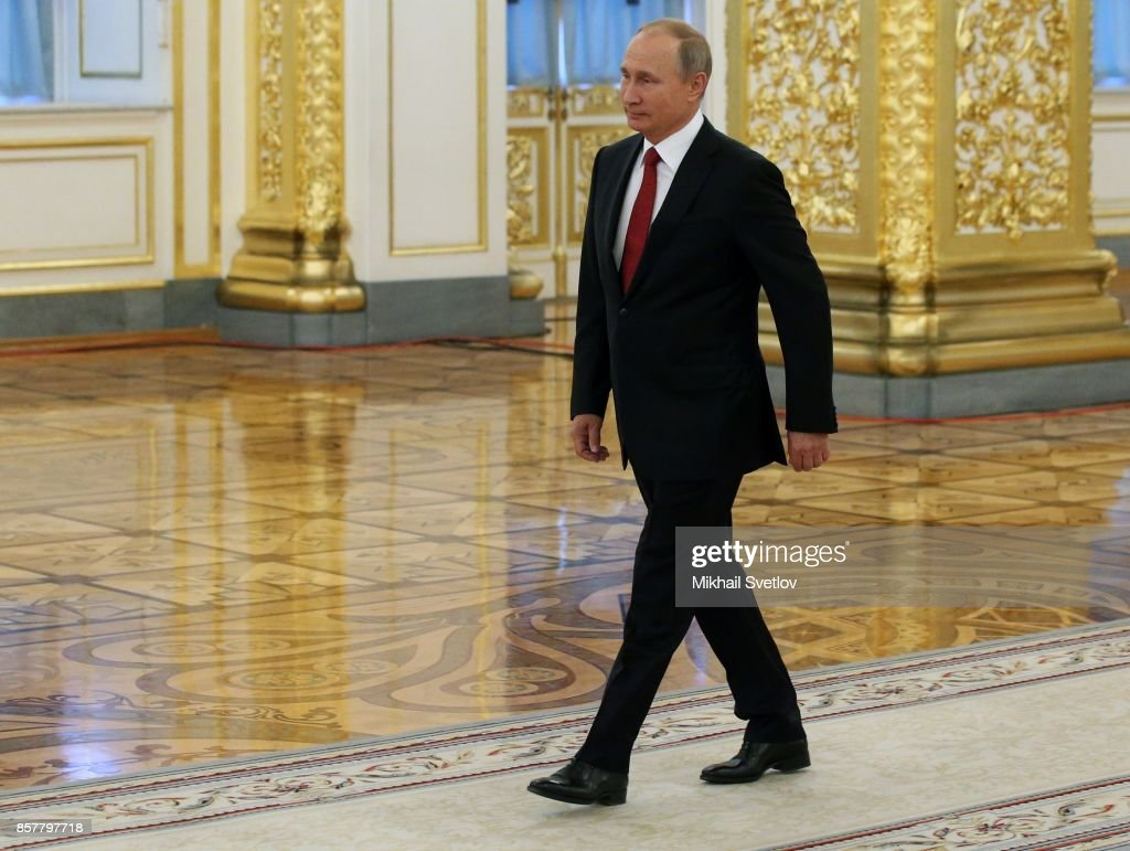 Russian President Vladimir Putin enters the hall during the reception ceremony for King Salman bin Abdulaziz Al Saud of Saudi Arabia (not pictured) at the Grand Kremlin Palaceon October 5, 2017 in Moscow, Russia. King Salman is on a state visit to Russia.