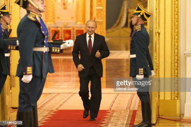 Russian President Vladimir Putin enters the hall during the State Awards Ceremony at the Grand Kremlin Palace in Moscow, Russia, June 2019. Vladimir...