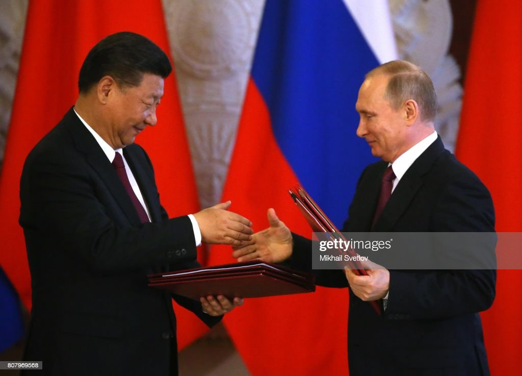 Russian President Vladimir Putin receives Chinese President Xi Jinping in Moscow : News Photo