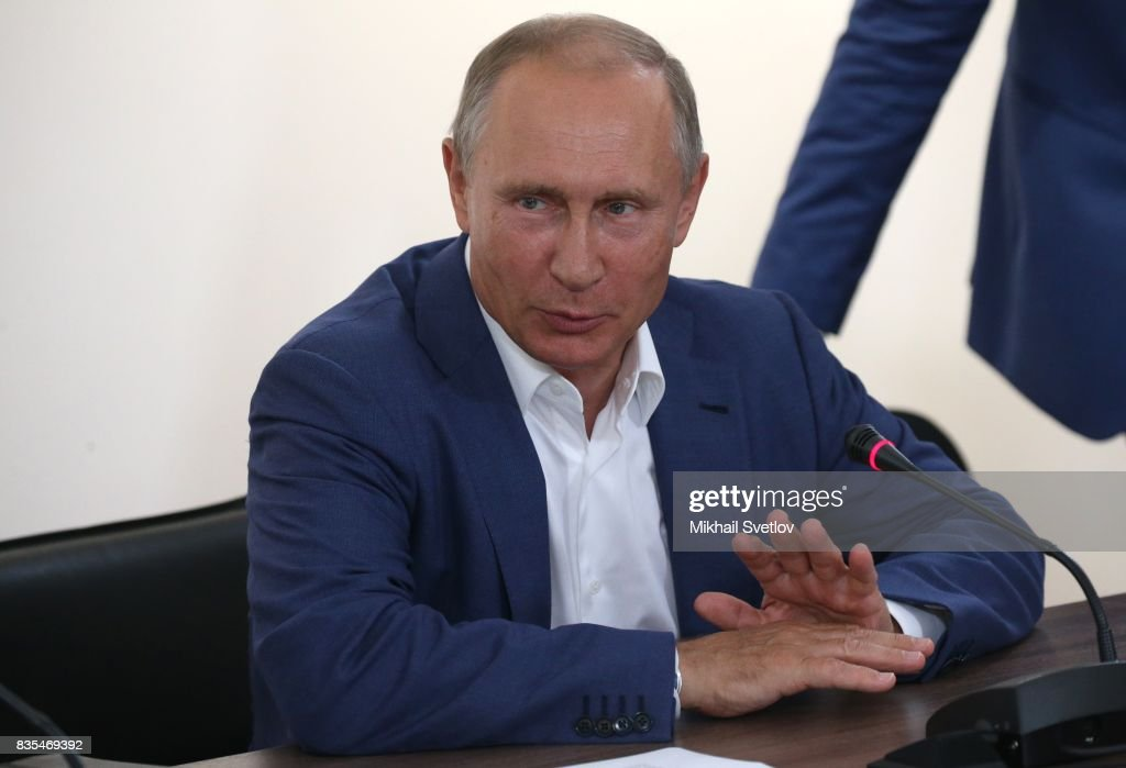 Russian President Vladimir Putin gestures during a meeting on August 18, 2017 on Sevastopol, Crimea. Vladimir Putin is in a three day trip to the Black Sea city of Sevastopol, located in Crimean Peninsula, a disputed territory between Ukraine and Russia, annexed in 2014. Photo by Mikhail Svetlov/Getty Images)
