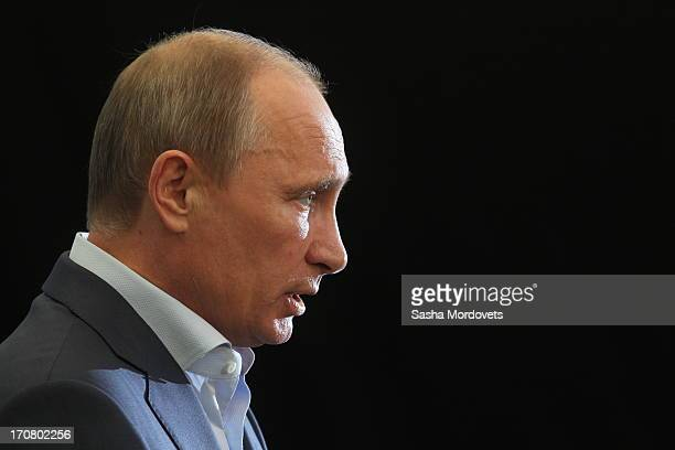Russian President Vladimir Putin gives a press conference on the final day of the G8 Summit June 18 2013 in Enniskillen Northern Ireland The G8...