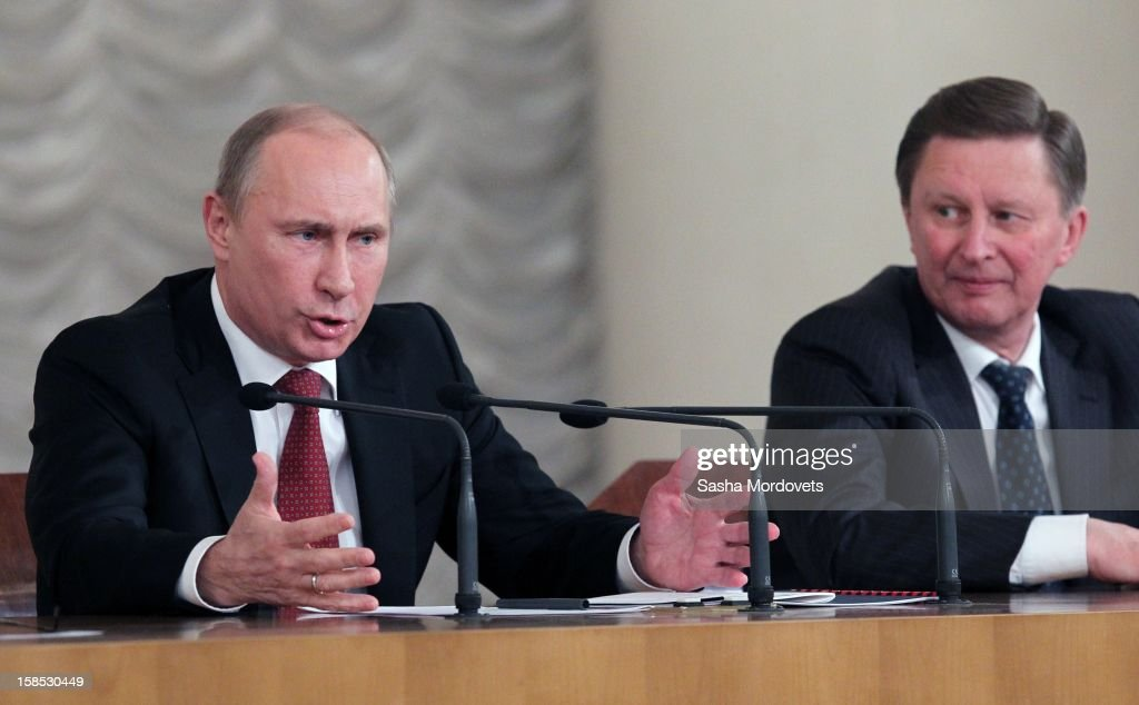 Russian President Vladimir Putin gives a speech as Chief of Presidential Administration Sergey Ivanov (R) looks on during the all-Russia congress of judges on December 18, 2012in Moscow, Russia. In his speech Putin he reminded the participants that courts are very important state institutions and cautioned judges against mistakes, bureaucratic self-conceit and bribery.