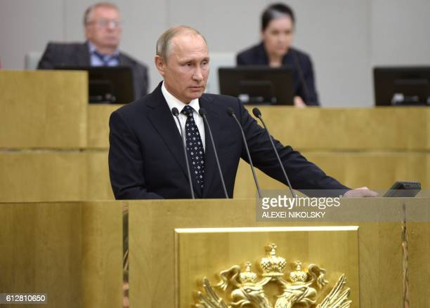 Russian President Vladimir Putin gives a speech at the opening session of the newly elected State Duma Russia's lower house of parliament in Moscow...