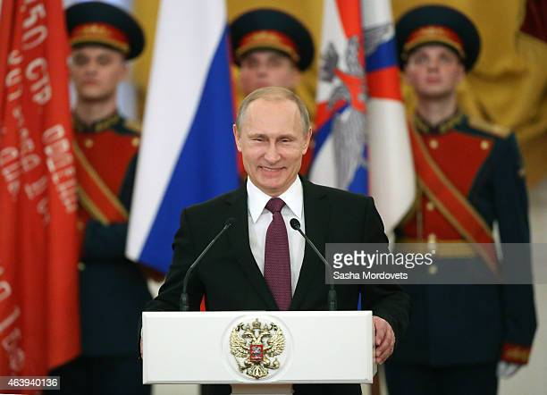 Russian President Vladimir Putin gives a speech during an award ceremony in which he gave awards to 30 veterans of WWII at the Grand Kremlin Palace...