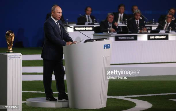 Russian President Vladimir Putin gives a speech during the 68th FIFA Congress at the Moscow Expocentre on June 13 2018 in Moscow Russia