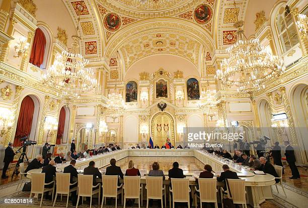 Russian President Vladimir Putin gives a speech during the award ceremony for Human Rights and Civil Society activists at the Grand Kremlin Palace on...