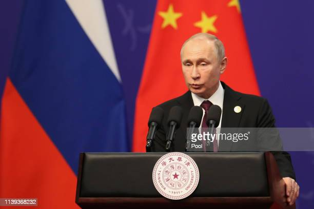 Russian President Vladimir Putin gives a speech during the Tsinghua Universitys ceremony at Friendship Palace on April 26 2019 in Beijing China