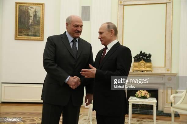 Russian President Vladimir Putin greets Belarussian President Alexander Lukashenko at the Kremlin on December 29 2018 in Moscow Russia President of...