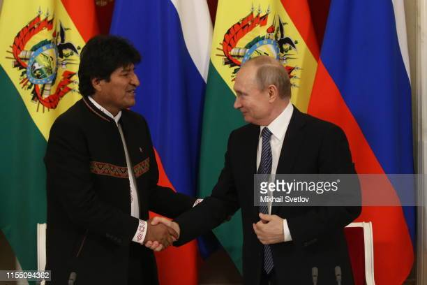 Russian President Vladimir Putin greets Bolivian President Evo Morales during their talks at the Kremlin in Moscow Russia July2019 President of...
