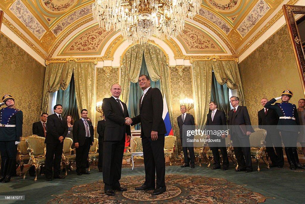 Russian President Vladimir Putin Meets Ecuador's President Rafael Correa